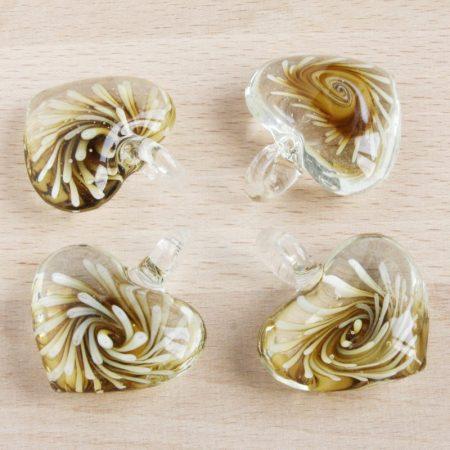 Muránói stílusú, kézi készítésű üvegmedál - kb. 4,5x4cm-es