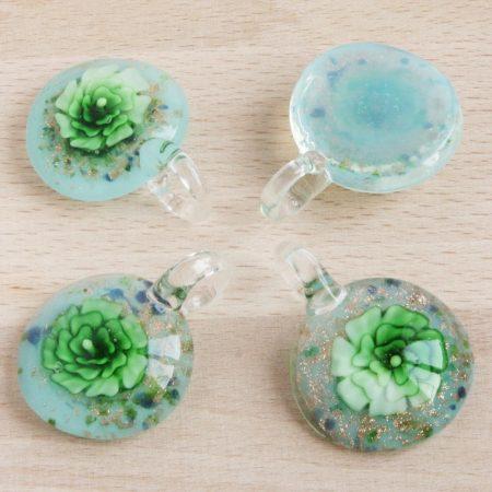 Muránói stílusú, kézi készítésű üvegmedál - kb. 4,5x3,5cm-es