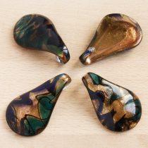 Muránói stílusú, kézi készítésű üvegmedál - kb. 5,5x3,5cm-es