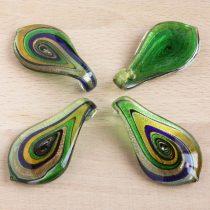 Muránói stílusú, kézi készítésű üvegmedál - kb. 6x3cm-es