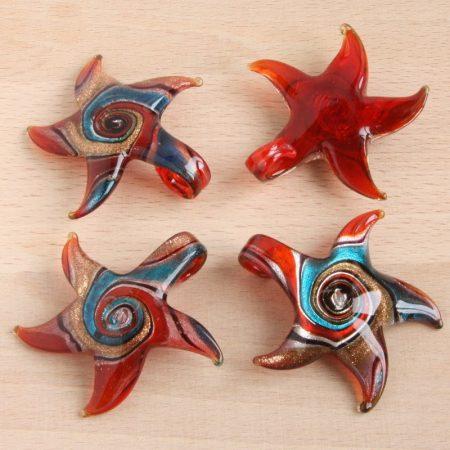 Muránói stílusú, kézi készítésű üvegmedál - kb. 5,5x5,5cm-es
