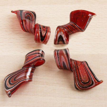 Muránói stílusú, kézi készítésű üvegmedál - kb. 5,5x2,5cm-es