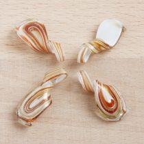 Muránói stílusú, kézi készítésű üvegmedál (akár fülbevalónak is alkalmas) - kb. 3x1,5cm-es