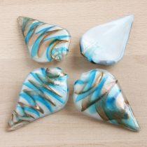 Muránói stílusú, kézi készítésű üvegmedál - kb. 7x4cm-es