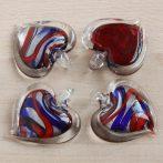 Muránói stílusú, kézi készítésű üvegmedál - kb. 4,5x4,5cm-es