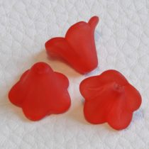 Akril virág (harangvirág) - 11x14mm-es áttetsző matt piros