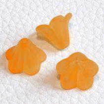 Akril virág (harangvirág) - 11x14mm-es áttetsző matt narancssárga