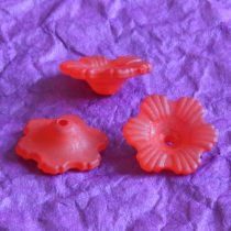 Akril virág - 6x11mm-es áttetsző matt piros - 10db