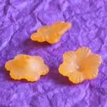 Akril virág - 6x11mm-es áttetsző matt narancssárga - 10db
