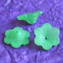 Akril virág - 6x11mm-es áttetsző matt zöld - 10db