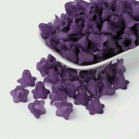 Akril virág (harangvirág) - 12x16mm-es áttetsző matt sötétlila