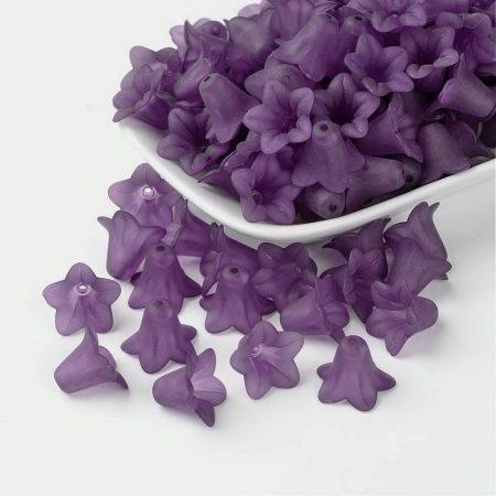 Akril virág (harangvirág) - 12x16mm-es áttetsző matt lila