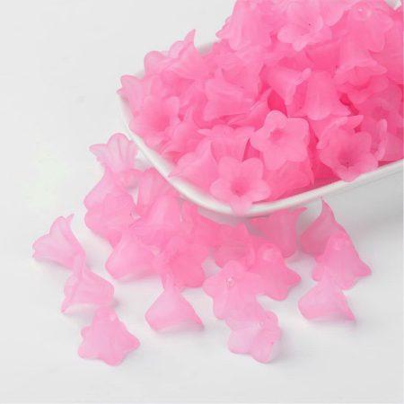 Akril virág (harangvirág) - 12x16mm-es áttetsző matt rózsaszín