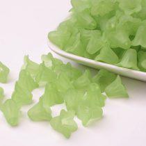 Akril virág (harangvirág) - 12x16mm-es áttetsző matt zöld