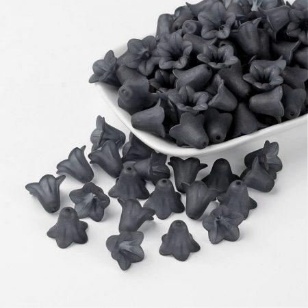 Akril virág (harangvirág) - 12x16mm-es áttetsző matt sötétszürke