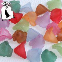 Akril virág - 17x20mm-es áttetsző matt vegyes színek - 10db