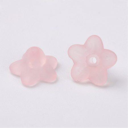 Akril virág - 5x9mm-es áttetsző matt rózsaszín