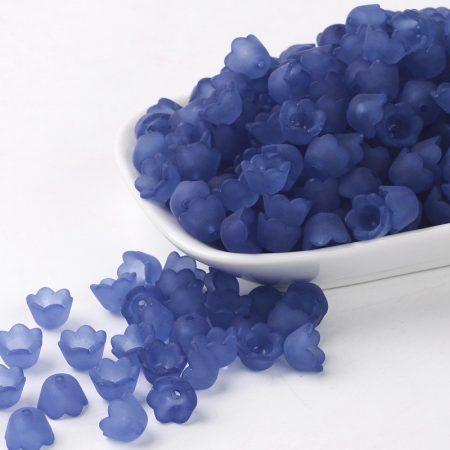 Akril virág (gyöngyvirág) - 7x10mm-es áttetsző matt kék