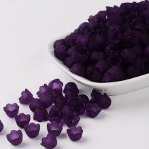 Akril virág (gyöngyvirág) - 7x10mm-es áttetsző matt sötétlila