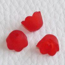 Akril virág (gyöngyvirág) - 7x10mm-es áttetsző matt piros - 20db