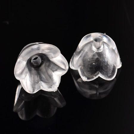 Akril virág (gyöngyvirág) - 7x10mm-es átlátszó színtelen