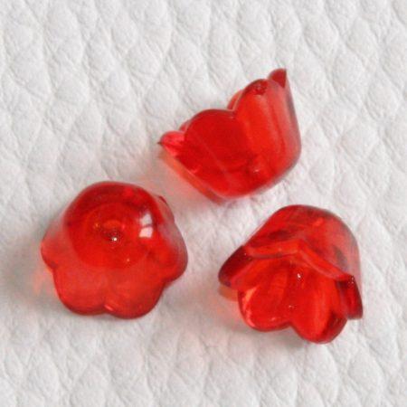 Akril virág (gyöngyvirág) - 7x10mm-es átlátszó piros - 20db