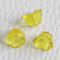 Akril virág (gyöngyvirág) - 7x10mm-es átlátszó sárga - 20db
