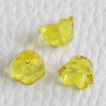 Akril virág (gyöngyvirág) - 7x10mm-es átlátszó sárga