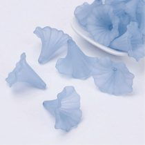Akril nagy virág - 41x35mm-es áttetsző matt égkék