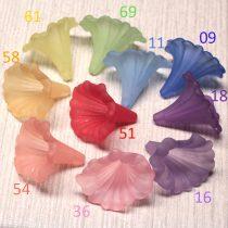 Akril nagy virág - 41x35mm-es áttetsző matt világosabb lila
