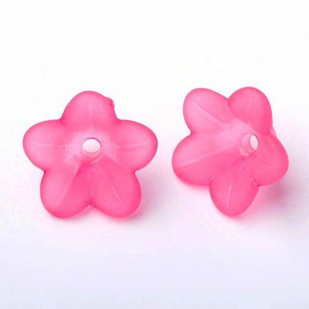 Akril virág (harangvirág) - 6x12mm-es áttetsző matt fukszia