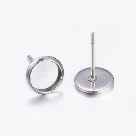 Nemesacél beszúrós ragasztható fülbevaló alap - 6mm-es kabosonhoz - 1 pár