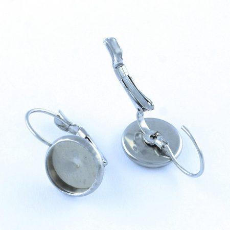Nemesacél francia kapcsos ragasztható fülbevaló alap - 10mm-es kabosonhoz - 1 pár