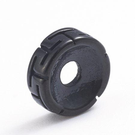 Fekete színű nemesacél 3x8mm-es rondell köztes gyöngy - furat: 2,2mm