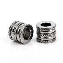 Nemesacél 10x12mm-es cső köztes gyöngy - furat: 6,2mm