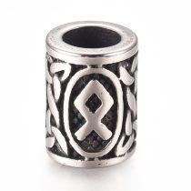 Antikolt nemesacél 13,5x10mm-es cső köztes gyöngy, szakállgyűrű rúnával - furat: 6mm