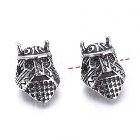 Antikolt nemesacél 15x10x9,5mm-es Gladiátor sisak köztes gyöngy - furat: 2,3mm