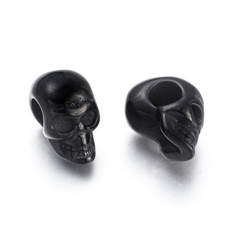 Fekete színű nemesacél 9,5x16x13mm-es koponya köztes gyöngy - furat: 5mm