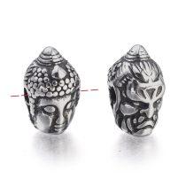 Antikolt nemesacél 9x14,5x9mm-es Buddha fej köztes gyöngy, furat: 2,3mm