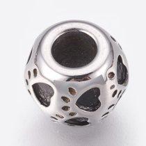 Antikolt nemesacél 8,5x10mm-es tappancsos köztes gyöngy - furat: 4mm
