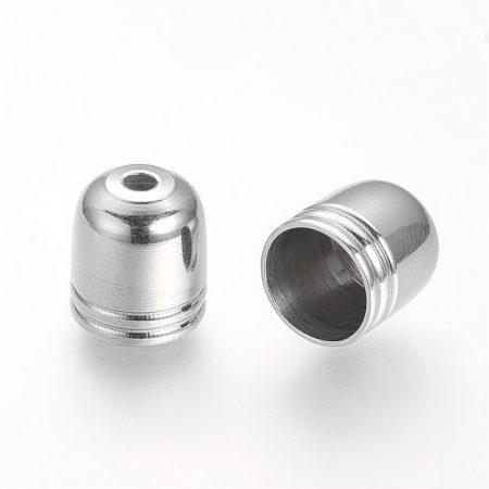 Nemesacél gyöngykupak, zsinórvég - 9x8mm-es, belső átmérő: 7mm