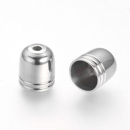 Nemesacél gyöngykupak, zsinórvég - 10x9mm-es, belső átmérő: 8mm