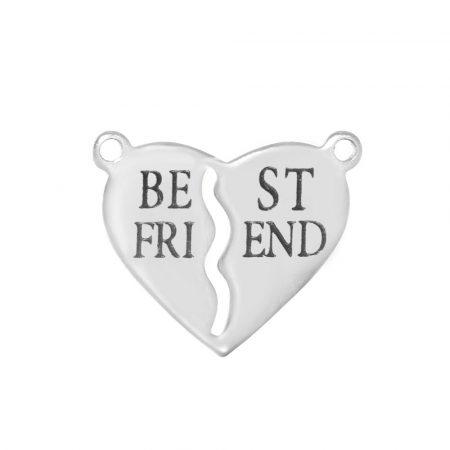 Nemesacél összekötő elem - 16x20x1mm Best Friend szív (nem szétszedhető!)