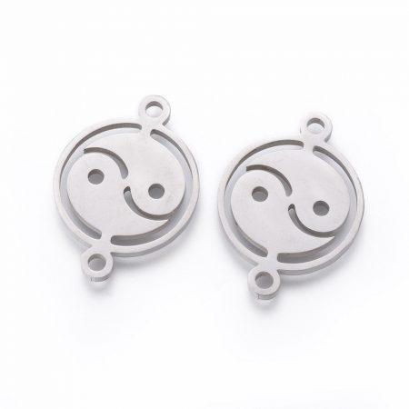Nemesacél összekötő elem - 22x16x1,5mm yin-yang