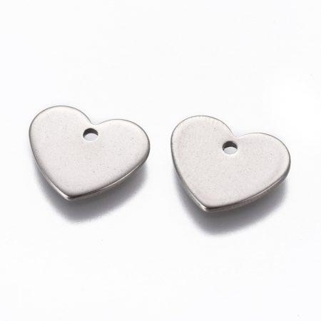 Nemesacél medál / fityegő - 11x13x1mm-es szív