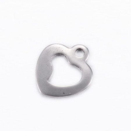 Nemesacél medál / fityegő - 11x10x0,8mm-es kontúr szív