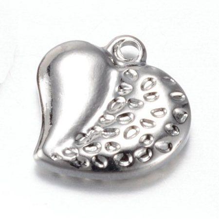 Nemesacél medál / fityegő - 13x13x3mm-es szív