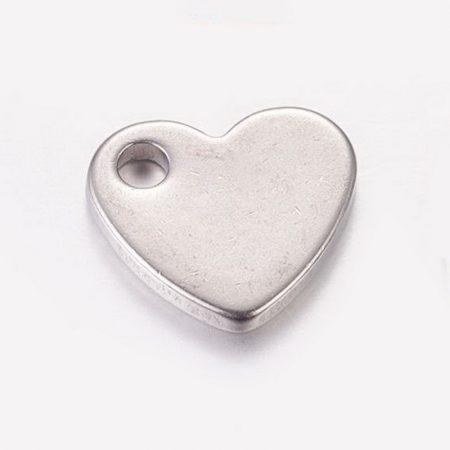 Nemesacél medál / fityegő - 10x9x1,5mm-es szív