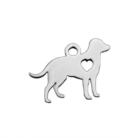 Nemesacél medál / fityegő - 11x16x1mm-es kutya