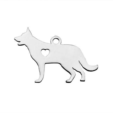 Nemesacél medál / fityegő - 15x23x1mm-es kutya